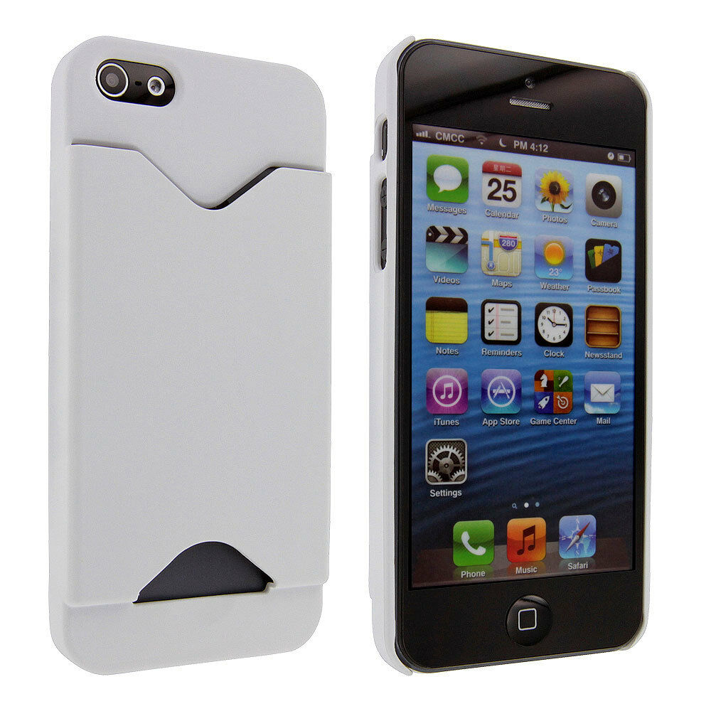 iphone case 5s white back cover with credit card holder for iphone 5 11708