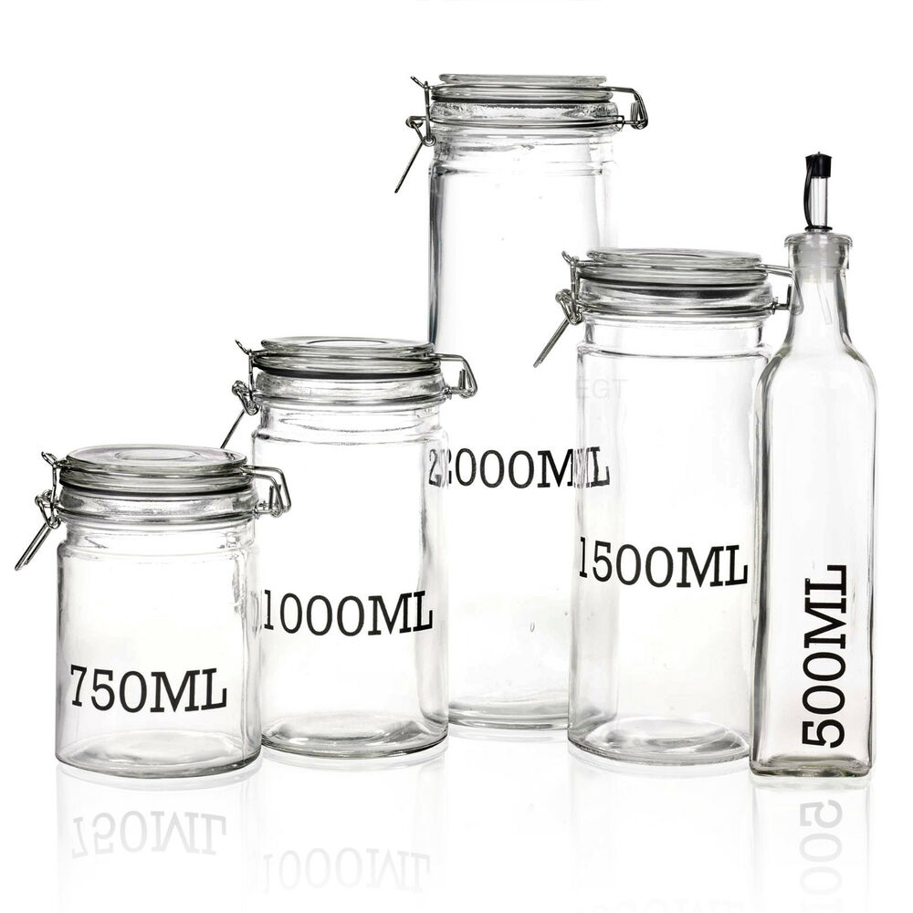 Large Glass Storage Jar With Air Tight Sealed Metal Clamp