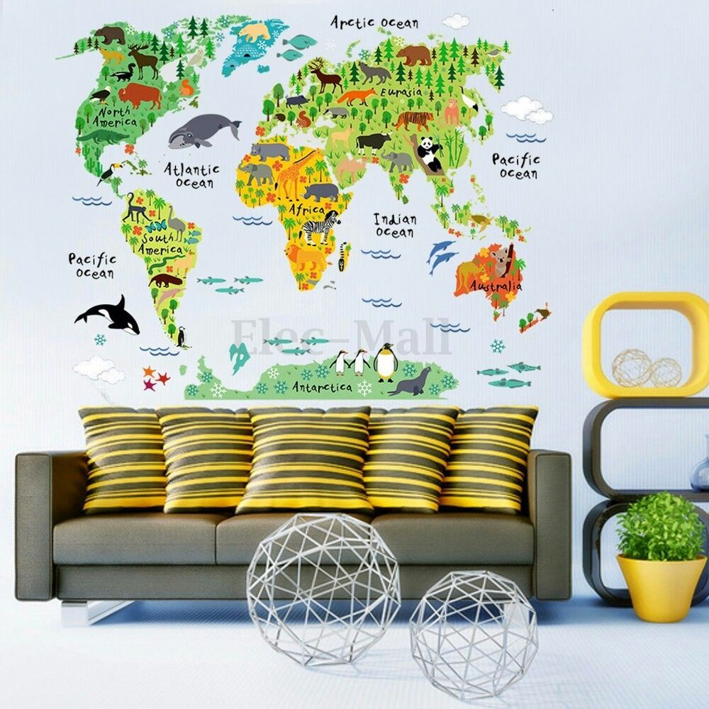 Animal world map wall decal removable art sticker kids for Kids home decor