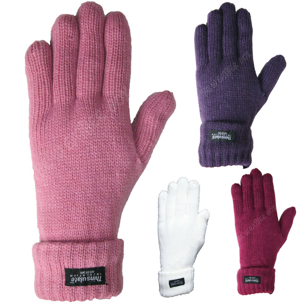 Ladies Thinsulate Ribbed Knitted Gloves Super Thick Lined Warm Winter Mittens...