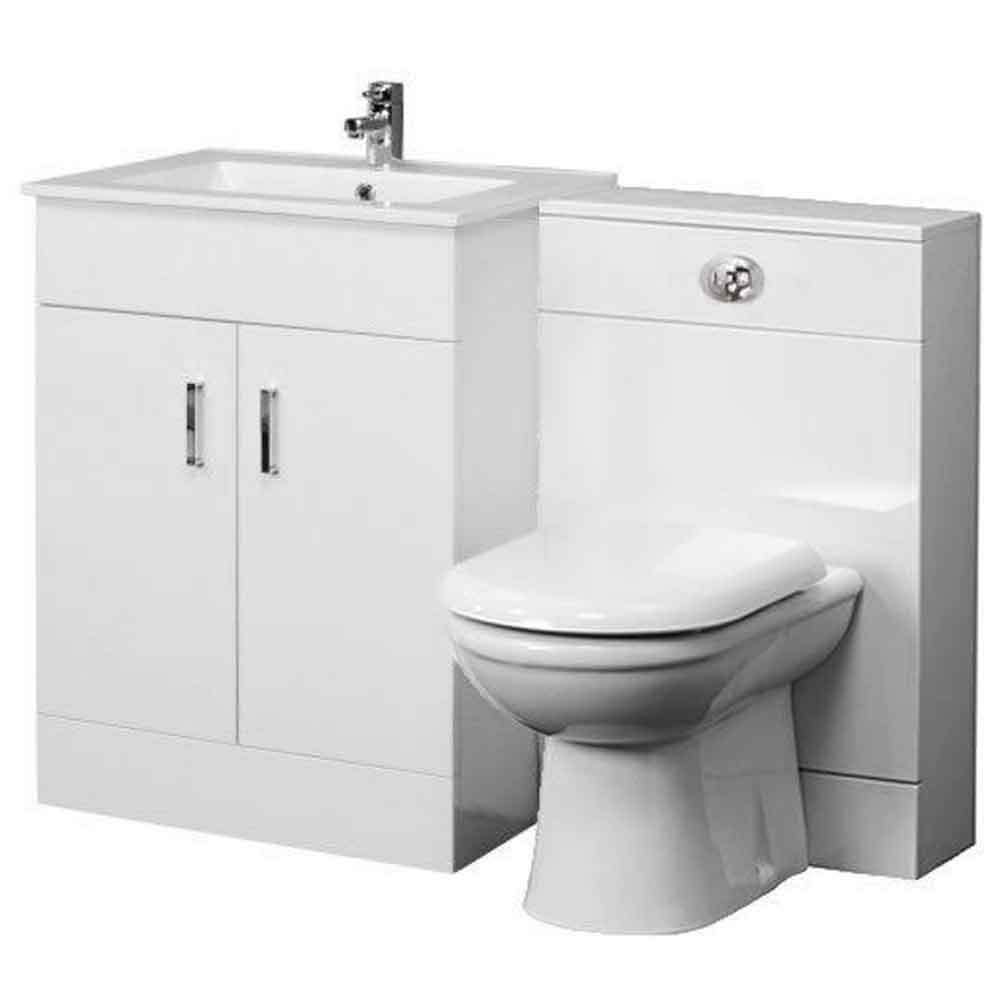 1100mm bathroom vanity unit back to wall toilet basin sink - Bathroom combination vanity units ...