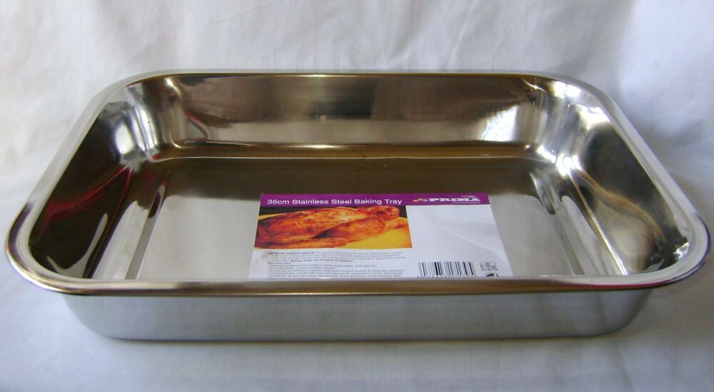new stainless steel roasting baking tray oven tin 36cm 14. Black Bedroom Furniture Sets. Home Design Ideas