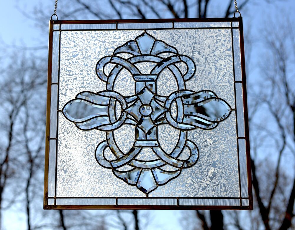 Tiffany style stained glass clear beveled window panel 24 for 15 panel beveled glass door