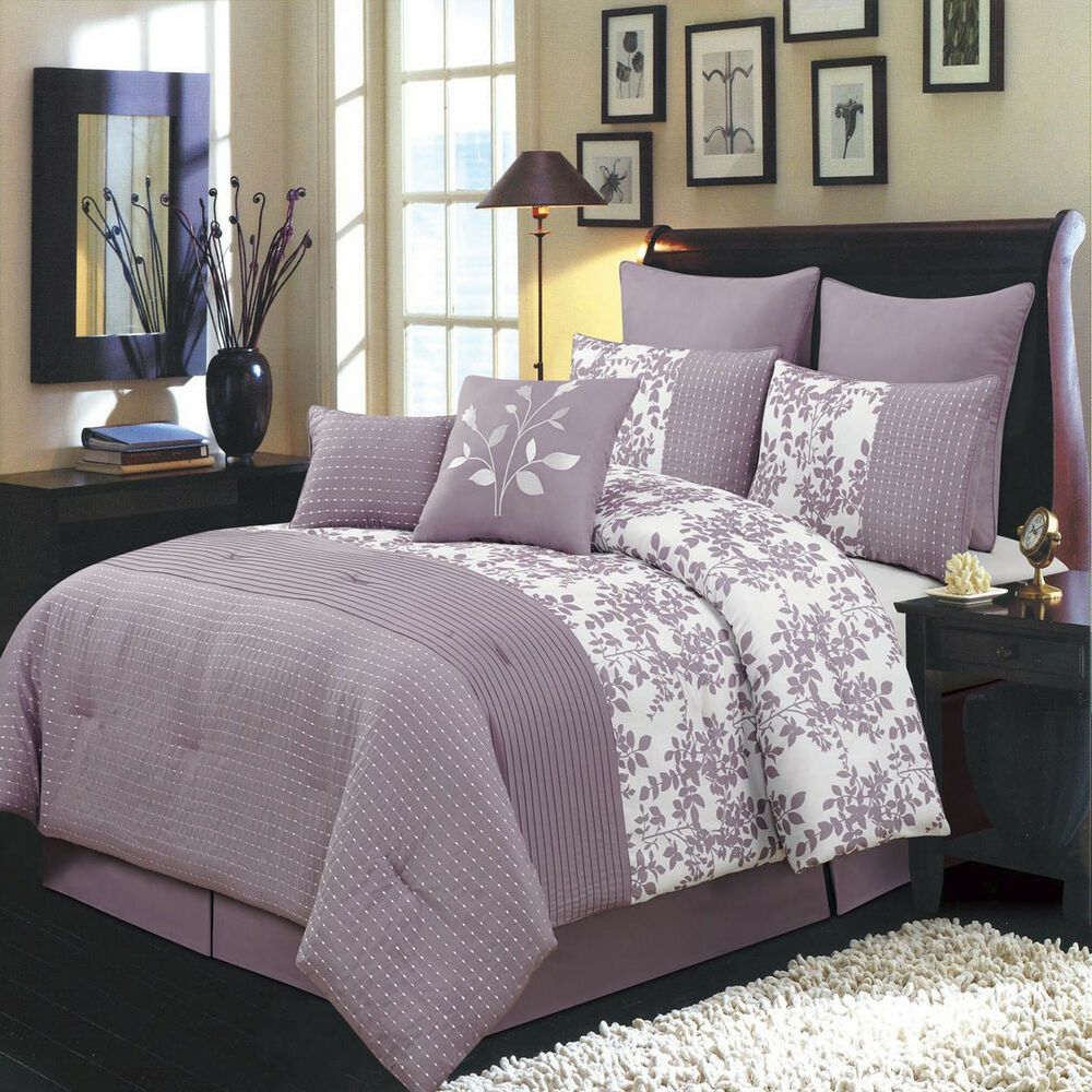 Bedding Decor: Bliss Purple Luxury 8 PC Comforter Set Includes Comforter