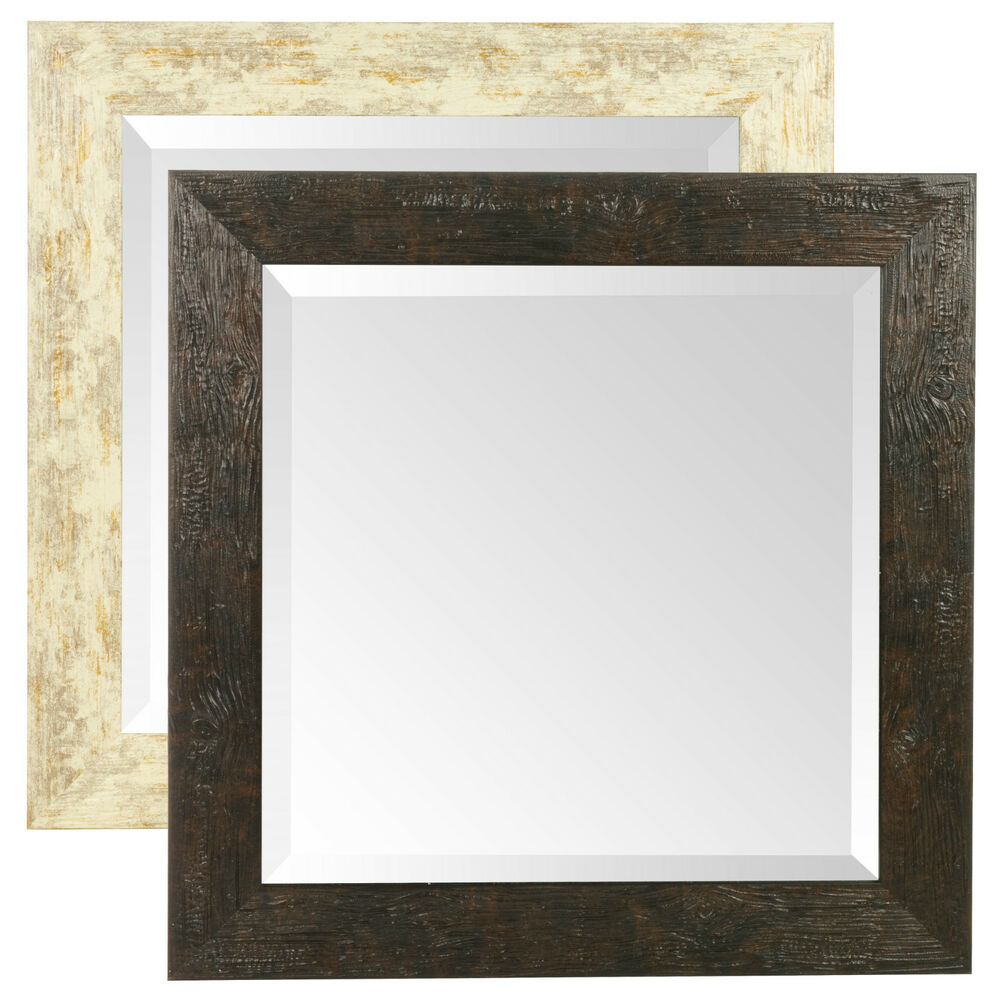 Large wall glass square mirror 50 x 50 cm mountable wood for Large square mirror