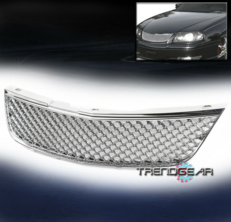 2000 2005 chevy impala front mesh grille grill chrome badgeless ebay