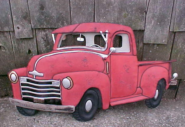 Vintage Antique Ford Chevy Pickup Truck Tin Metal Wall Art