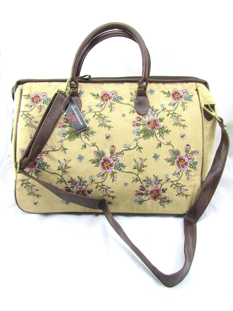 AMERICANA BY SHARIF Tan Camel Floral Embroidery Quilted Large XL Duffle Bag New | EBay
