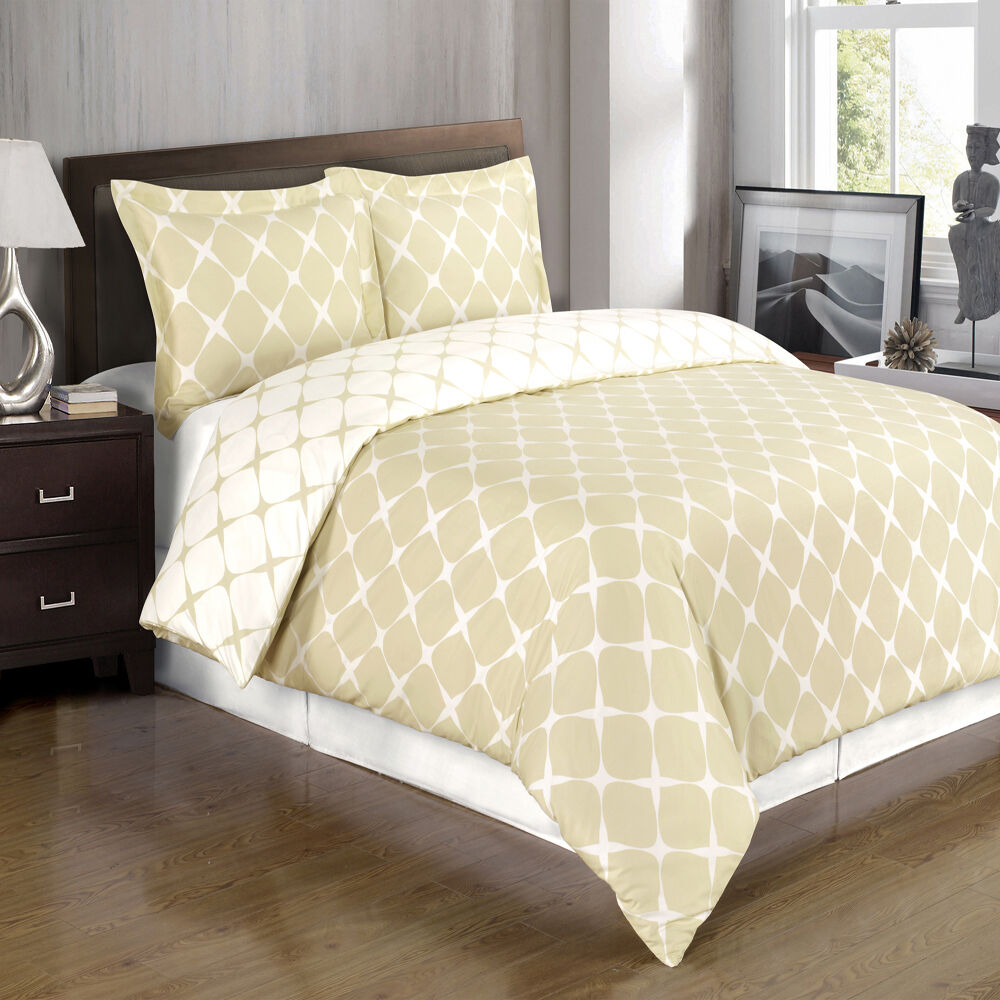 Beige And Ivory Luxury Bloomingdale 3 Piece Duvet Cover