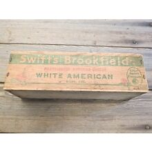 Wood crate white American cheese box vintage old Swift's Brookfield CLOVER