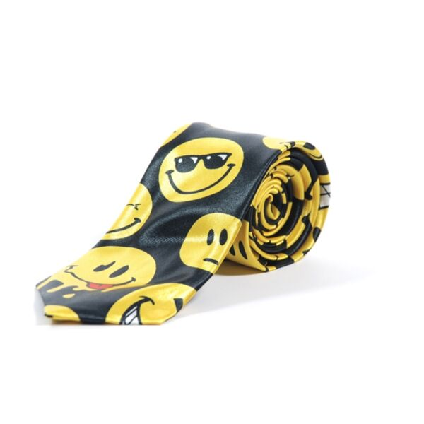 New Large Smiley Face Emoticons Print Skinny Neck Tie- Black and Yellow Narrow