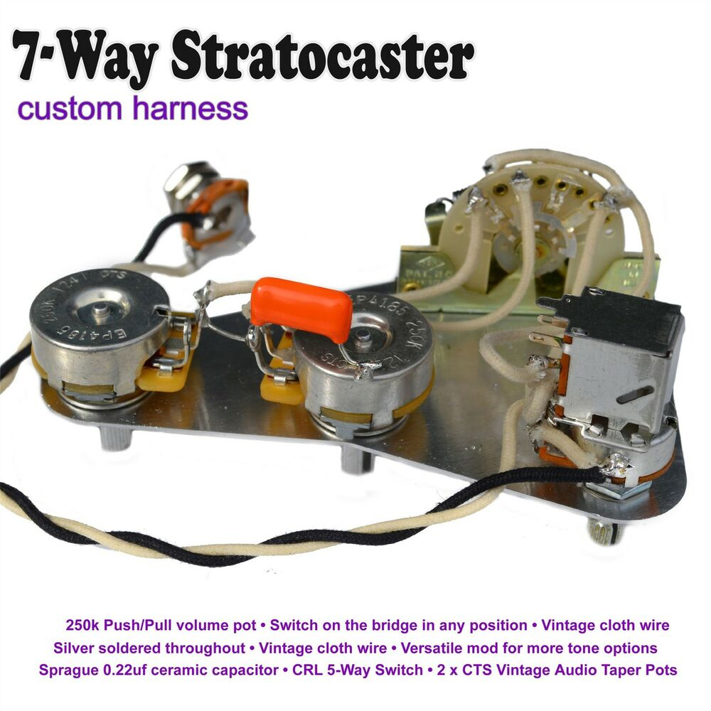 Stratocaster Wiring Diagram Push Pull : Deluxe way stratocaster strat wiring kit push pull pot