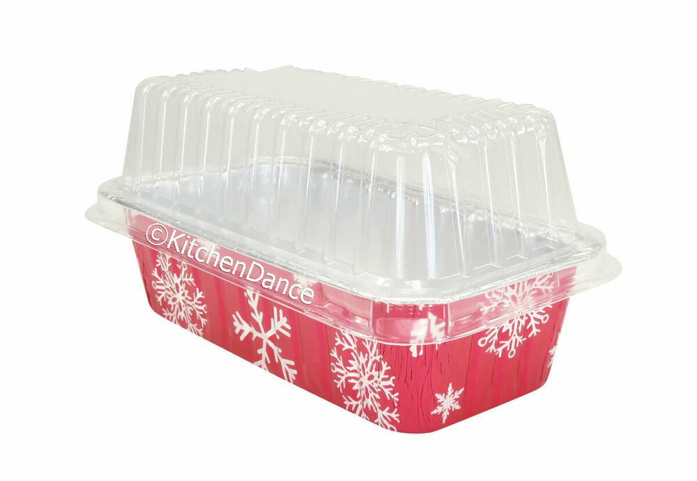 2 Lb Disposable Red Aluminum Holiday Loaf Pans W Clear