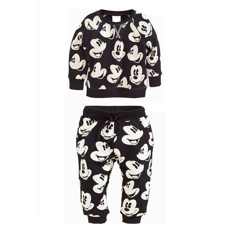 2pcs toddler kids baby boys mickey mouse sport tracksuits outfit