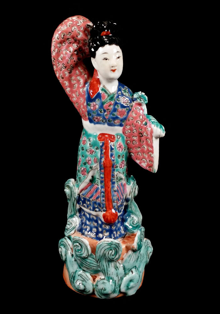 Vintage chinese china famille rose porcelain lady statue