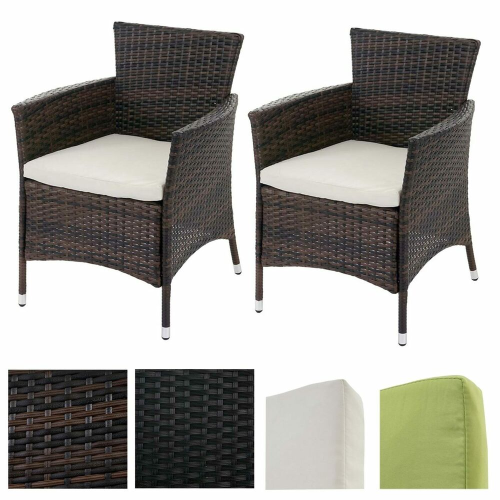 2x poly rattan gartensessel rom basic korbsessel inkl sitzkissen ebay. Black Bedroom Furniture Sets. Home Design Ideas