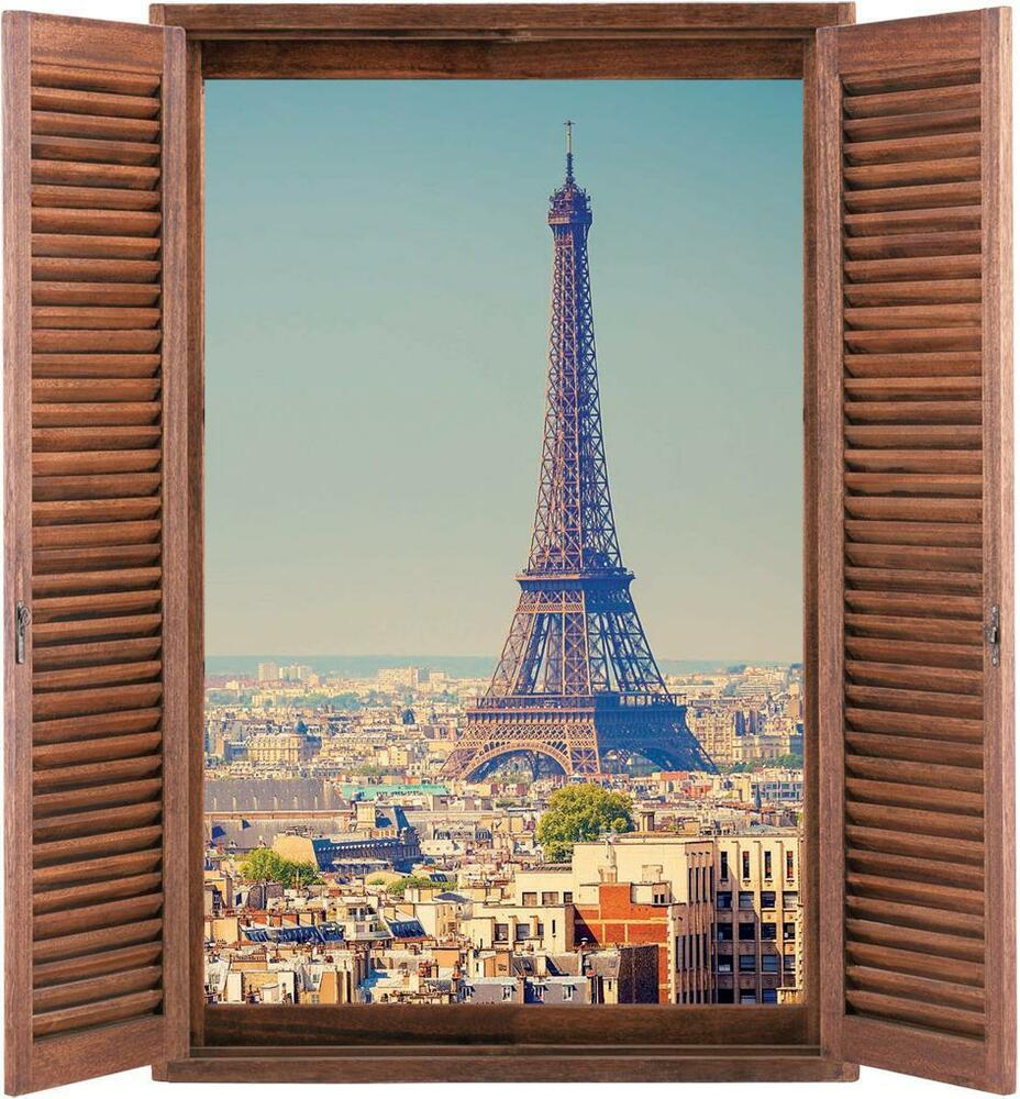 Eiffel tower paris 3d wood window decal graphic wall for Eiffel tower mural