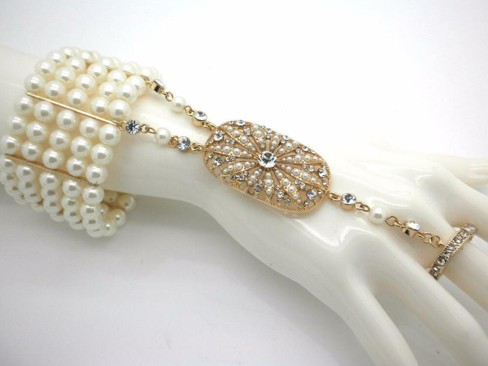 Pearl Crystal Bangle Ring & Cuff Women Slave Bracelets ...
