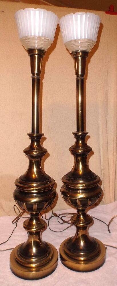 Vintage Pair 36 3 4 Tall Rembrandt Torchiere Table Lamps