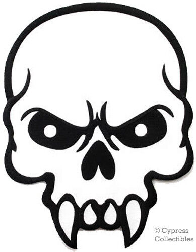 Mean Skull Iron On Embroidered Patch Vampire Poison Large