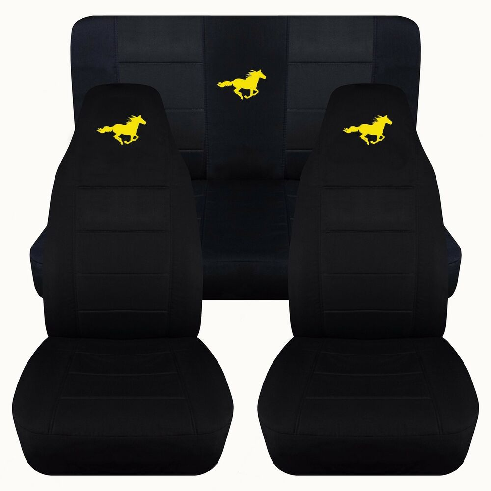 05 07 Ford Mustang Convertible Front Amp Rear Black With Yellow Horse Seat Covers Ebay