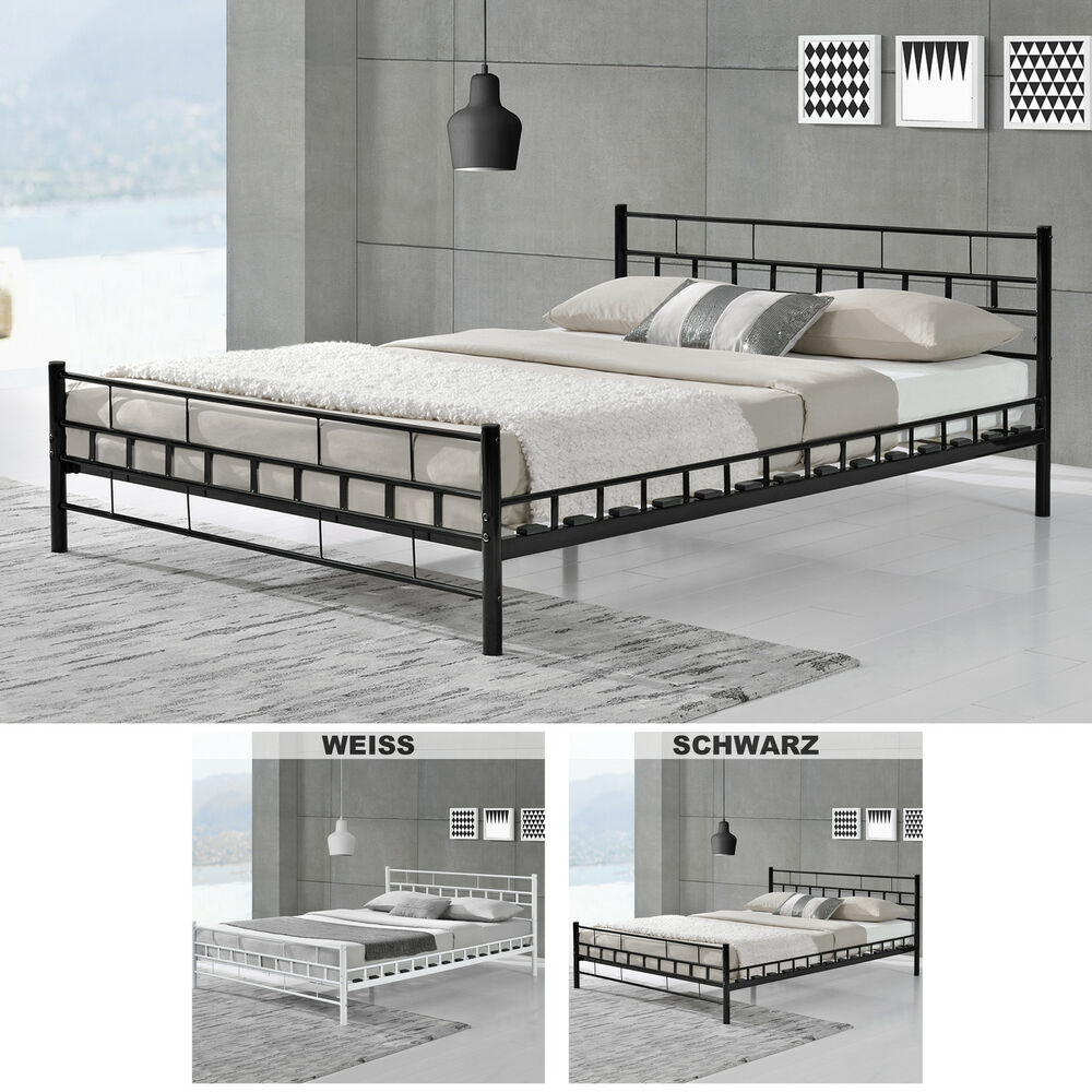 metallbett lattenrost bettgestell doppelbett bettrahmen metall bett ebay. Black Bedroom Furniture Sets. Home Design Ideas