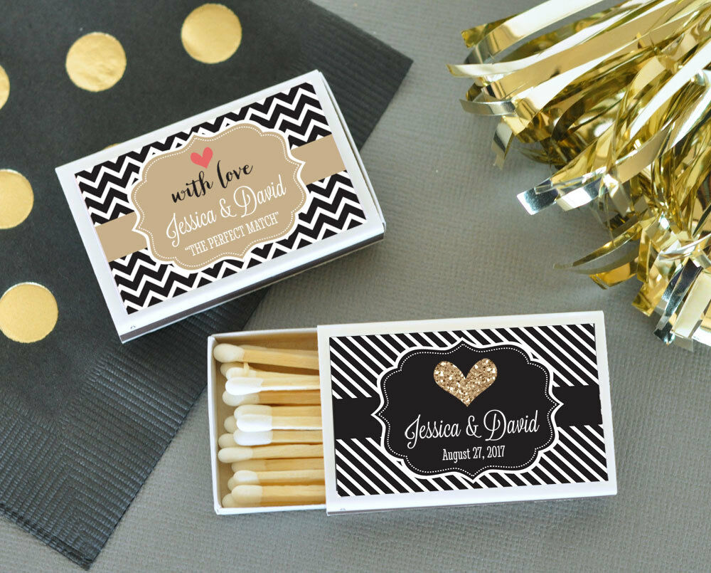 50 personalized wedding theme match boxes bridal shower for Wedding favor supplies