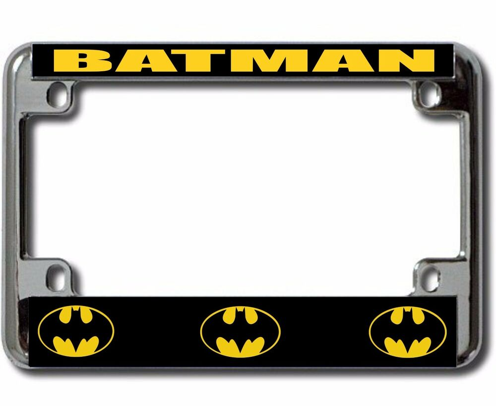 Batman Logo Motorcycle Chrome License Plate Frame Usa Made