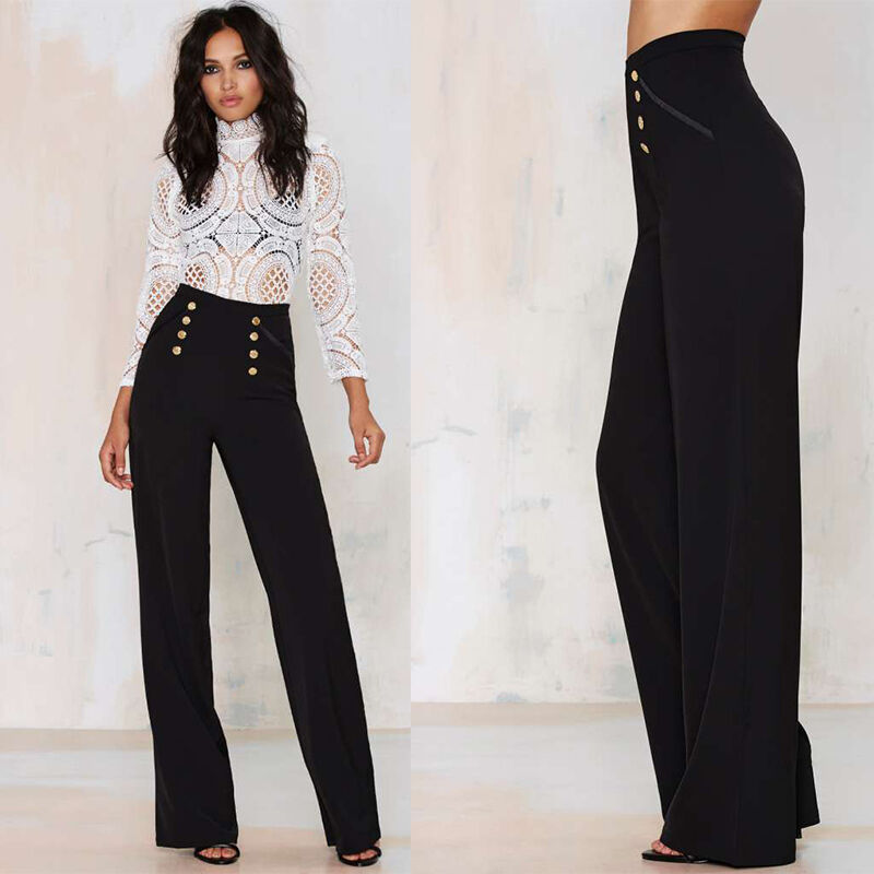 Beautiful Casual Women Loose Long Pleated Culottes Pants Dress Wide