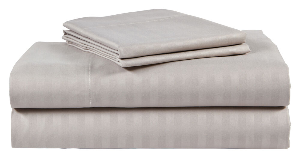 King Size Silver/Gray 500 Thread Count 100% Cotton Sateen ...