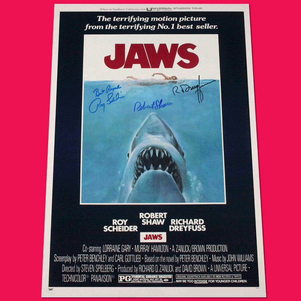 jaws 3 cast signed autograph movie poster a3 297 x 420mm. Black Bedroom Furniture Sets. Home Design Ideas