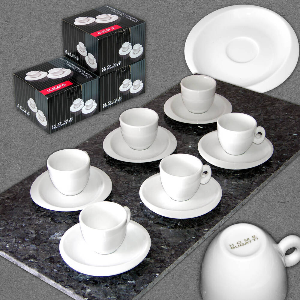 home bugatti 12 tlg espressotassen set 6 kleine kaffee tassen espresso becher ebay. Black Bedroom Furniture Sets. Home Design Ideas