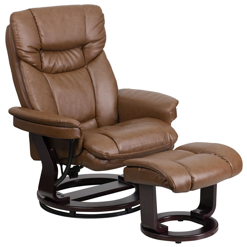 Contemporary Wooden Ottoman ~ Contemporary palimino leather recliner and ottoman with