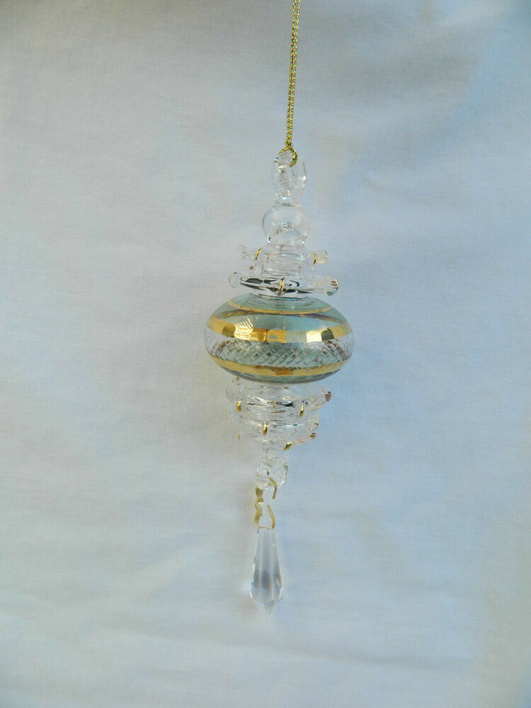Egyptian hand blown gold etched glass christmas ornament