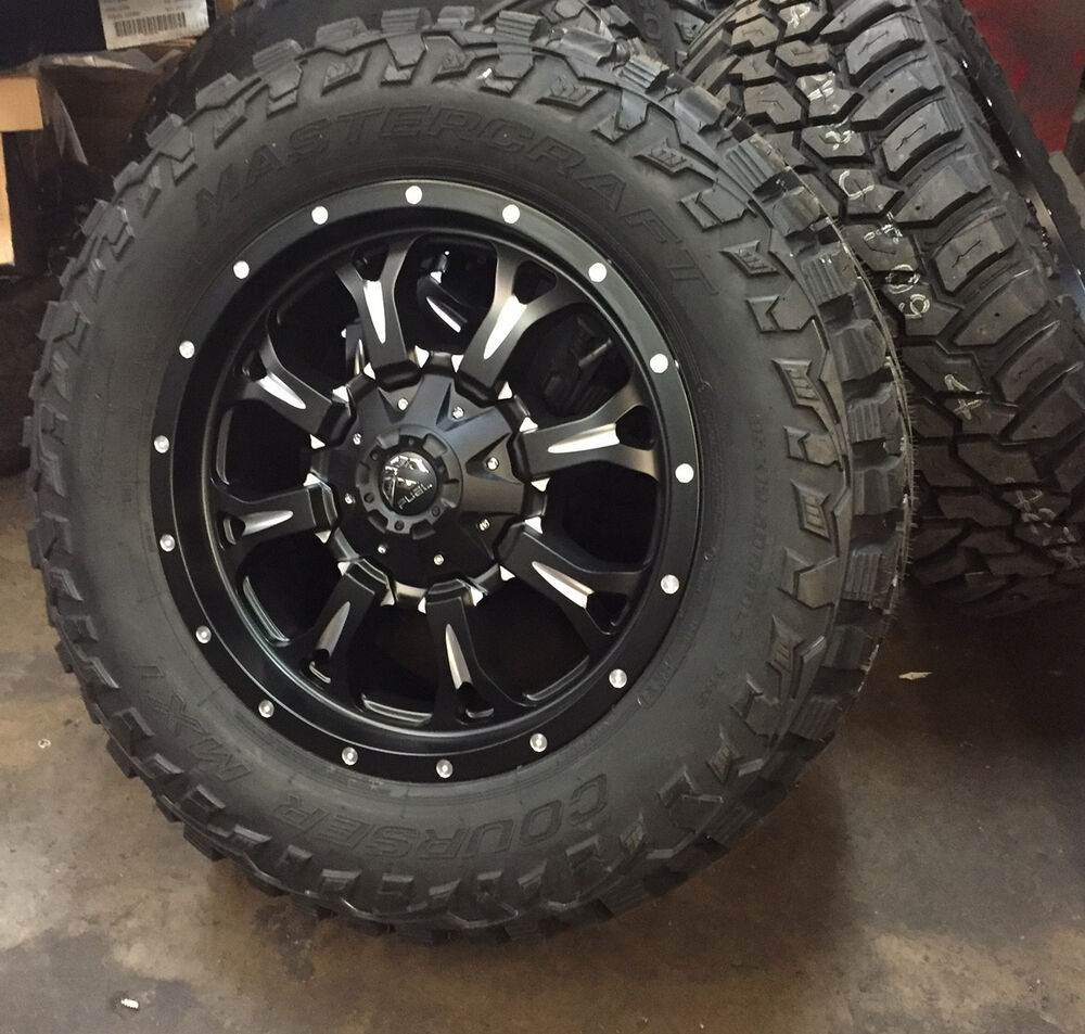 "20"" Fuel D517 Krank Black Wheels 35"" Mud Tires 8x180 2011 ..."