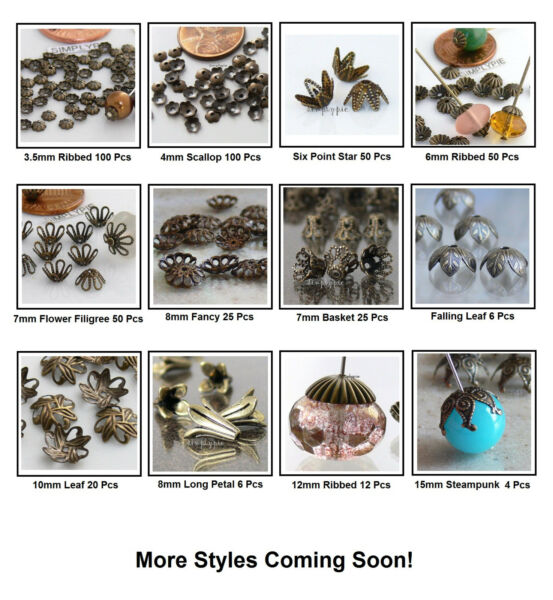 ++ Antiqued Brass Metal Bead Caps Choose Color/Qty New Arrivals