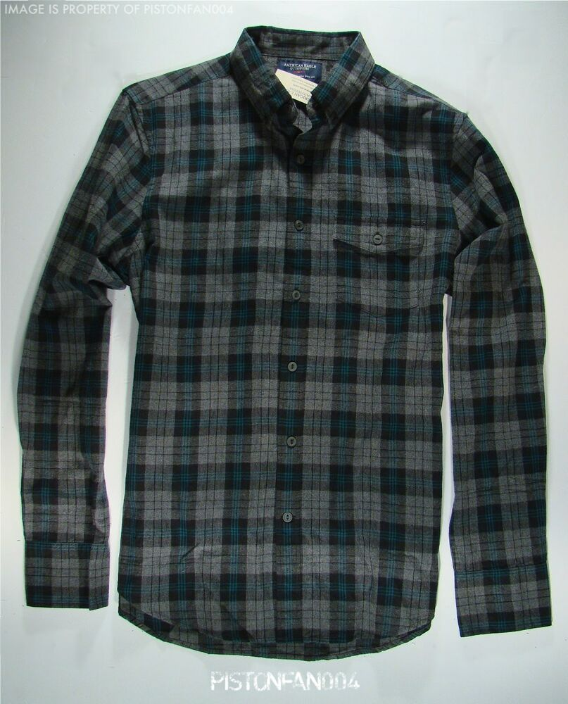 American eagle mens turquoise gray plaid fine woven for Mens xl flannel shirts