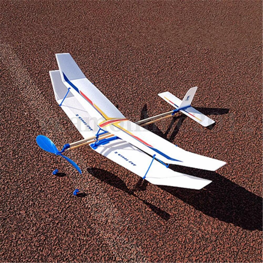 Rubber Band Elastic Powered Flying Glider Plane Airplane