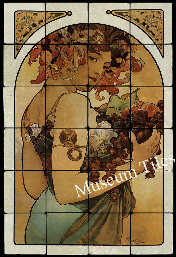 16x24 alphonse mucha fruit art nouveau mural tile tumbled for Art nouveau tile mural