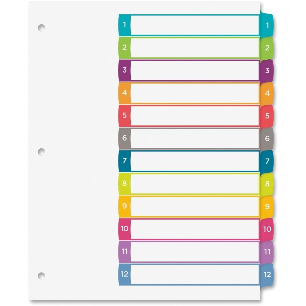 Quotavery ready index table of contents dividers multicolor for Avery 3 tab dividers