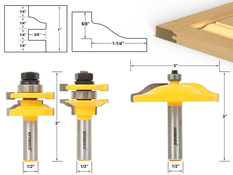 kitchen cabinet door router bits 3 bit raised panel cabinet door router bit set 1 2 18589