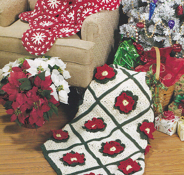 Crochet Pattern ~ CHRISTMAS POINSETTIA AFGHAN ~ Instructions | eBay