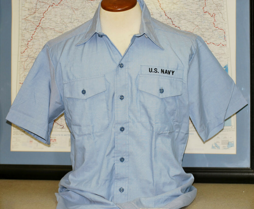 Us navy short sleeve chambray work shirt new xx large for Chambray 7 s