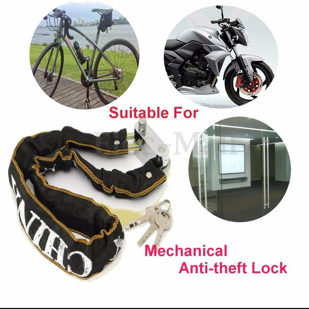 24 39 39 heavy duty motorcycle scooter bicycle bike chain lock steel high. Black Bedroom Furniture Sets. Home Design Ideas