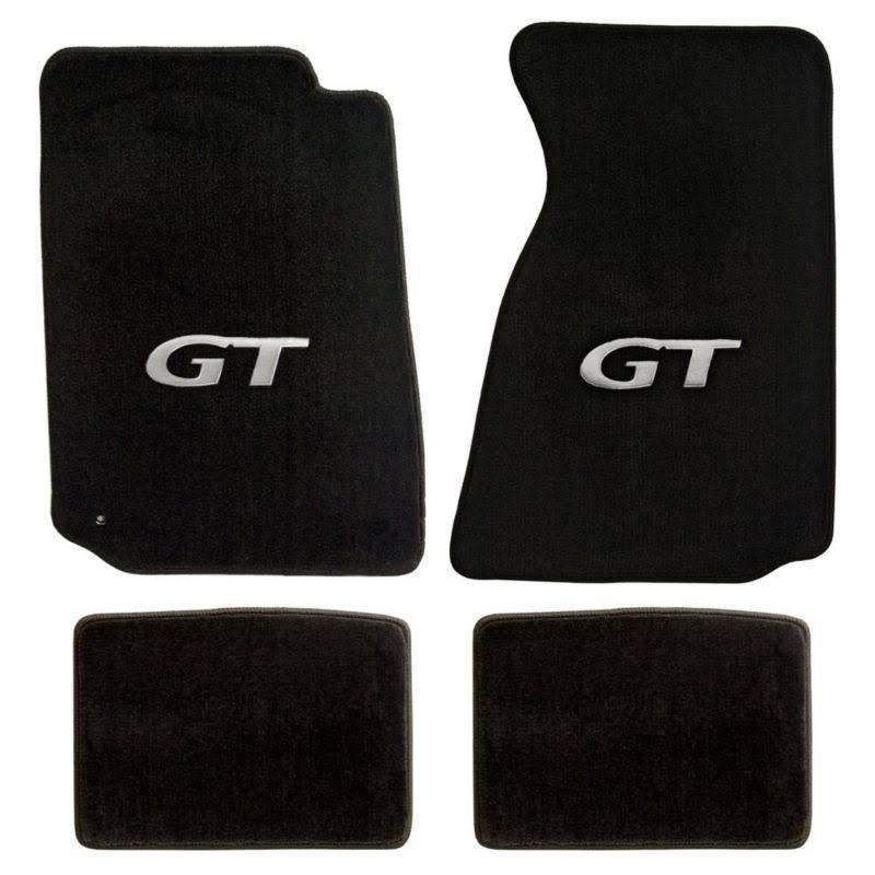 1994 2004 mustang coupe convertible 4pc black floor mats set silver gt logo ebay. Black Bedroom Furniture Sets. Home Design Ideas