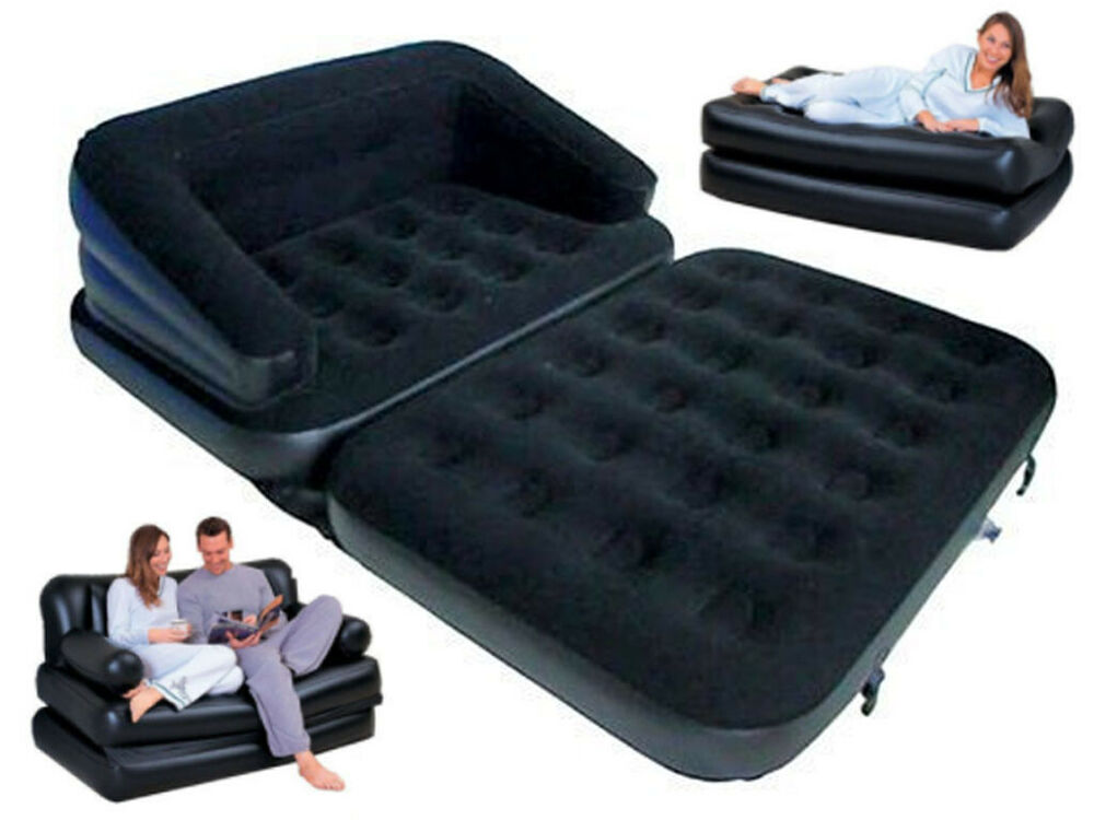 5 In 1 Inflatable Double Flocked Sofa Couch Bed Mattress