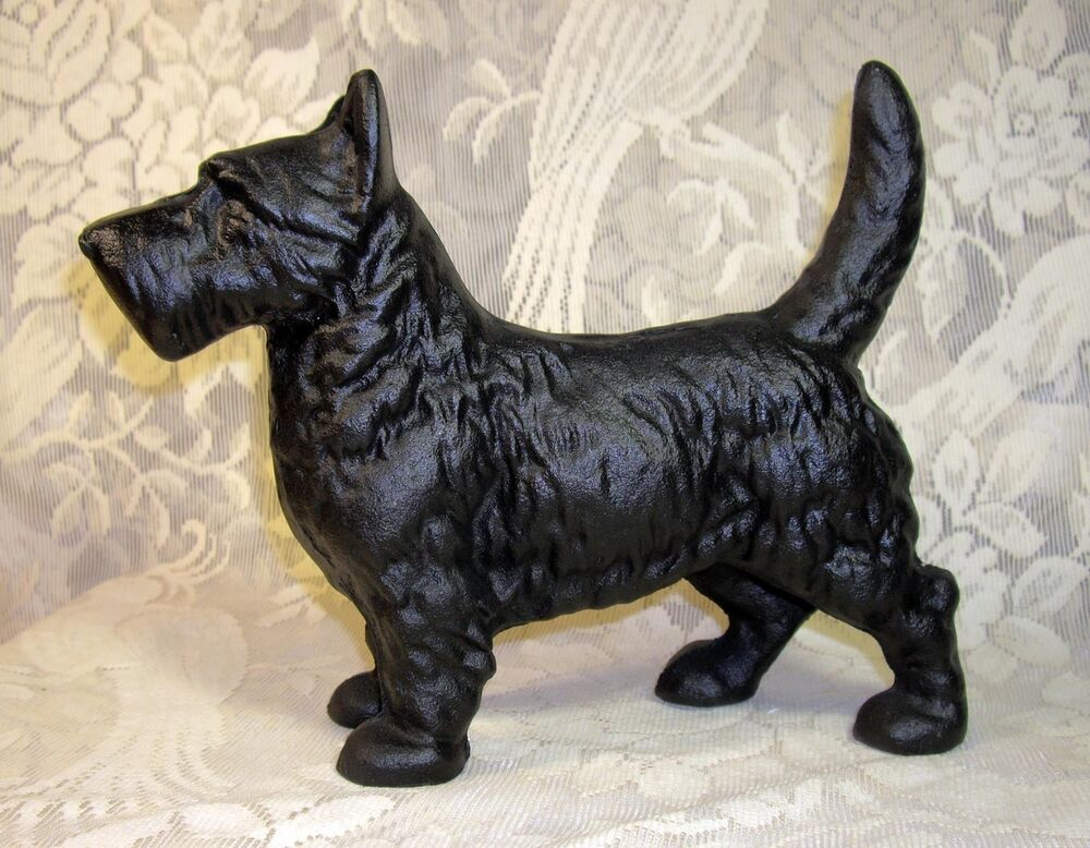 Standing scottie dog statue heavy cast iron doorstop black scottish terrier ebay - Cast iron dog doorstop ...