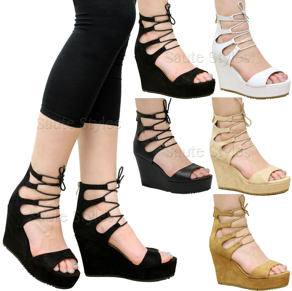 e156b69b016b Details about Ladies Womens Cutout Lace Up Wedge Heel Ankle Strap Gladiator  Sandals Shoes Size