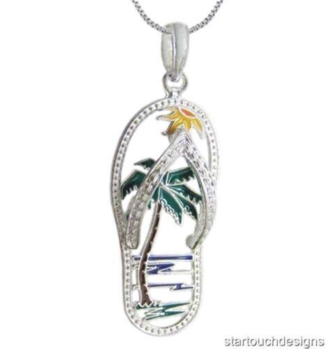New 925 Sterling Silver Palm Tree Flip Flop Pendant