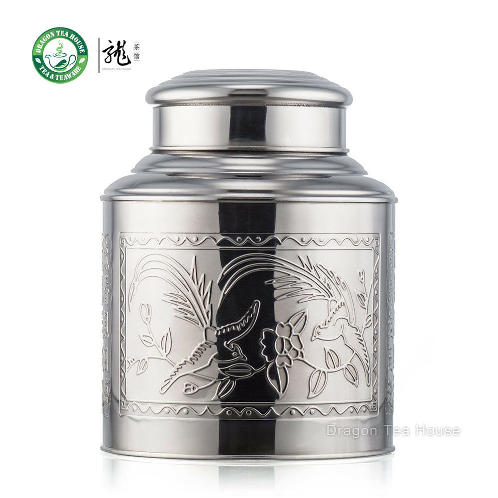 Large Stainless Steel Canister Tea Caddy Container With